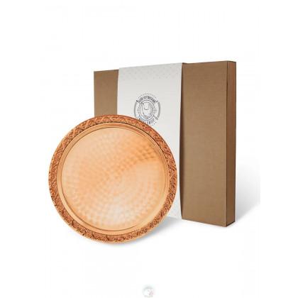 Поднос декоративный круглый медный в коробке Кольчугино \ С95508_К