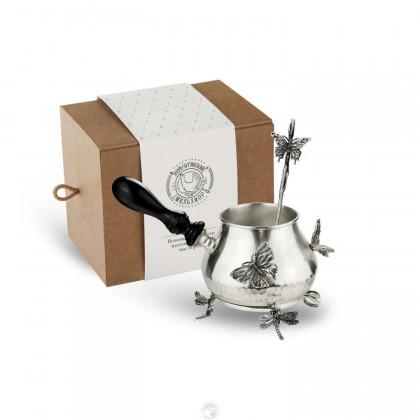 """Набор турка с подставкой и ложкой """"Бабочки"""" медная посеребрянные кованая в коробке Кольчугино \ КМ6270201_К"""