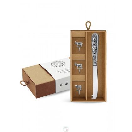 """Набор для сыра """"Лось"""" посеребренный с чернью в коробке Кольчугино \ КМ4180406_К"""