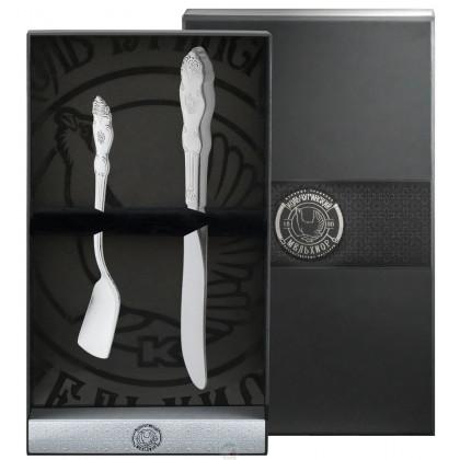 """Набор для завтрака """"Герб"""" 2 пр.нож для масла+лопатка для икры посеребренный Кольчугино \ КМ1180201"""