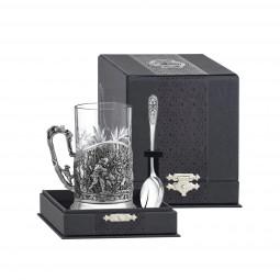 """Набор для чая """"Медвежья охота""""посеребренный с черн  Кольчугино \ КМ4660206"""