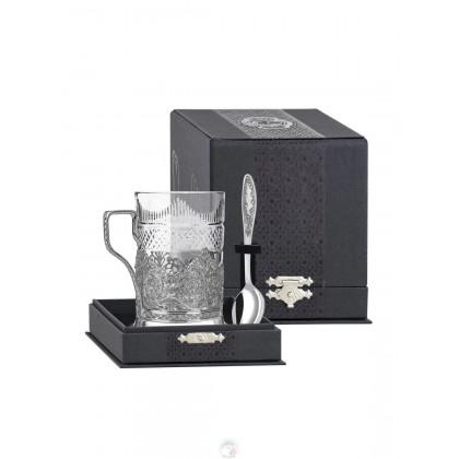 """Набор для чая """"Скань"""" посеребренный с черн  Кольчугино \ КМ4630206"""