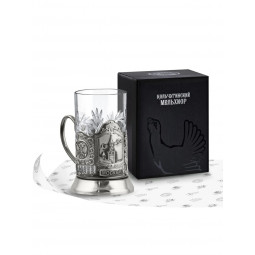 """Набор для чая """"Спасская башня"""" никелированный с чернью Кольчугино \ НБС7408/32"""