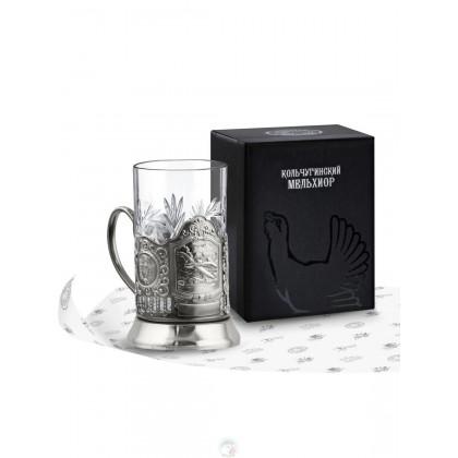 """Набор для чая """"Самолет Ил"""" никелированный с чернью Кольчугино \ НБС7111"""
