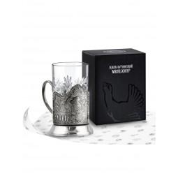 """Набор для чая """"Пальма"""" никелированный с чернью Кольчугино \ НБС7408/22"""