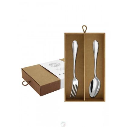 """Набор столовый """"Капелька"""" 2 пр.л+в посеребрянный в коробке Кольчугино \ КМ0340201_К"""