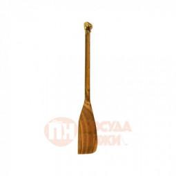"""Лопатка деревянная с латунной накладкой """"Перец"""" узкая Кольчугино \ КМ489ЛП06"""