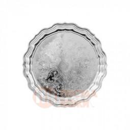 Поднос круглый с фигурным вырезом края с гравированным рисунком никелированный Кольчугино \ С79608/1
