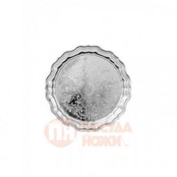 Поднос круглый с фигурным вырезом края без рисунка никел. Кольчугино \ С79608