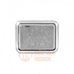 Поднос прямоугольный с гравированным рисунком никелированный Кольчугино \ С79508
