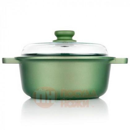 Кастрюля с антипригарным покрытием со стеклянной крышкой Risoli Dr Green 20см \ 00097DR/20GS