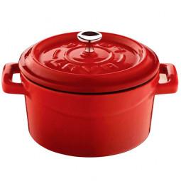 Чугунная порционная кастрюля с крышкой LAVA RED 10см \ LVYTC10K2