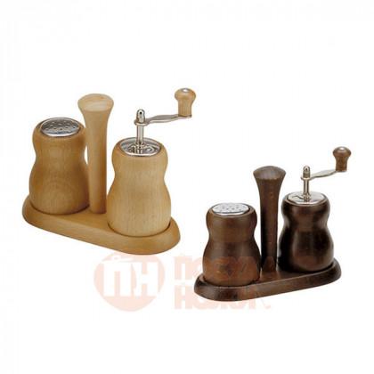 Набор для специй мельница для перца и солонка 10 см Bisetti светлое дерево орех \ 301N