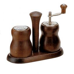Набор для специй мельница для перца и солонка 10 см Bisetti темное дерево орех \ 301T