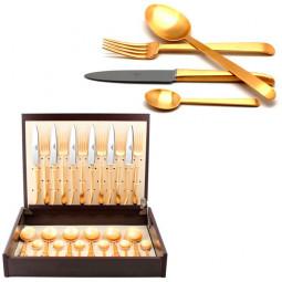 Набор столовых приборов ERGO GOLD матовый  24 пр. CUTIPOL  \ 9122
