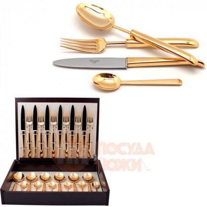Набор столовых приборов CARRE GOLD  на 6 персон 24 пр. CUTIPOL  \ 9131