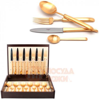 Набор столовых приборов CARRE GOLD матовый  на 6 персон 24 пр. CUTIPOL  \ 9132