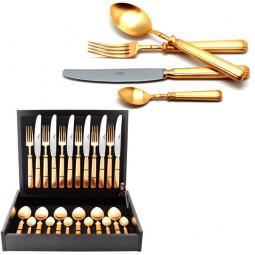 Набор столовых приборов PICCADILLY GOLD матовый  на 6 персон 24 пр. CUTIPOL  \ 9142