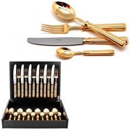 Набор столовых приборов LINE GOLD  на 6 персон 24 пр. CUTIPOL  \ 9171