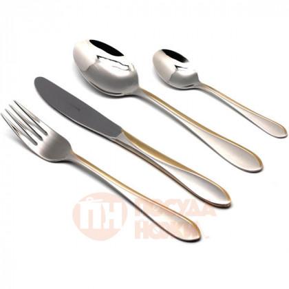 Набор столовых приборов на 12 персон Miami матированный с декором 72 пр. 18/10 /золотистый Herdmar \ 06430720900E07