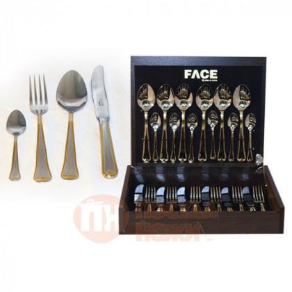 Набор столовых приборов Face 24 предмета Falperra Gold в деревянной коробке.  \ F-FG_24-AL