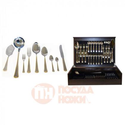 Набор столовых приборов на 12 персон Face 75 предметов Falperra Gold в деревянной коробке.  \ F-FG_75-AL