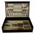 Набор столовых приборов на 12 персон Face 75 предметов Santorini в деревянной коробке.  \ F-SAN_75-AL