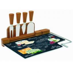 """Набор для сыра: разделочная доска (стекло) + 4 ножа """"Мир сыров"""" Easy Life (R2S) \ R2S810_WOCH-AL"""