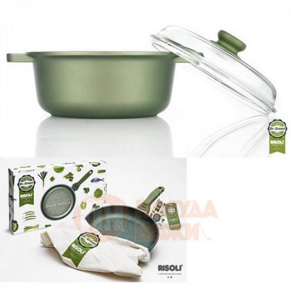Кастрюля с антипригарным покрытием со стеклянной крышкой Risoli Dr Green 24см \ 00097DR/24GS