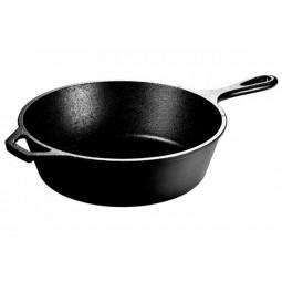 Сковорода чугунная круглая глубокая 26 см с двумя ручками, черная LODGE \ L8DSK3