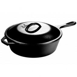 Сковорода чугунная круглая глубокая с чугунной крышкой 26 см с двумя ручками, черная LODGE \ L8CF3