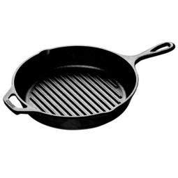 Сковорода-гриль чугунная круглая 26 см с двумя ручками, черная LODGE \ L8GP3