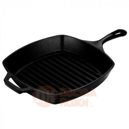 Сковорода-гриль чугунная квадратная 26 см. с двумя ручками, черная LODGE \ L8SGP3