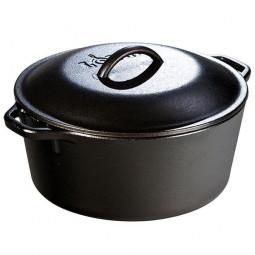 Жаровня чугунная круглая с чугунной крышкой 26 см 5 л, черная LODGE \ L8DOL3