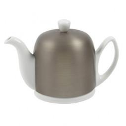Чайник заварочный на 4 чашки с крышкой цинкового цвета 600 мл фарфор White GUY DEGRENNE \ 216412