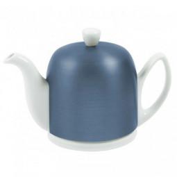Белый чайник на 4 чашки, 0,7л, Синяя алюминиевая крышка, черный фетр White GUY DEGRENNE \ 225358