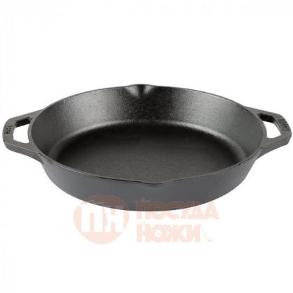 Чугунная сковорода круглая с носиками и двумя ручками 30 см Lodge \ L10SKL