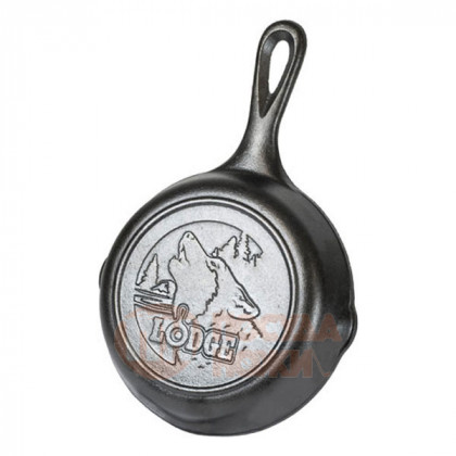 Чугунная сковорода круглая Wildlife Series Wolf 16 см Lodge \ L3SKWLWF