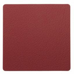 Подставка под стаканы из натуральной кожи 10*10 см LindDNA BULL квадратная цвет красный \ LD-98359