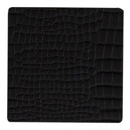 Подставка под стаканы из натуральной кожи 10*10 см LindDNA CROCO квадратная цвет черный \ LD-9898