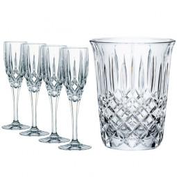 Набор для шампанского из 4-х хрустальных фужеров и ведерка для охлаждения Noblesse Nachtmann \ 102386
