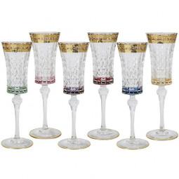 Набор стеклянных фужеров для шампанского 6 пр. золото Цветная Флоренция Same \ SM3173_678-AL