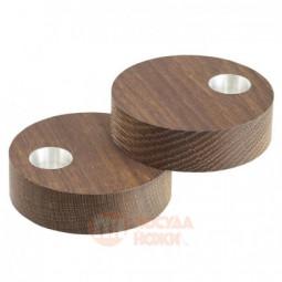 Набор из 2-х деревянных круглых подсвечников для высоких свечей 9 см LIND DNA \ 98411