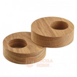 Набор из 2-х деревянных круглых подсвечников для чайных свечей 9 см LIND DNA \ 98409