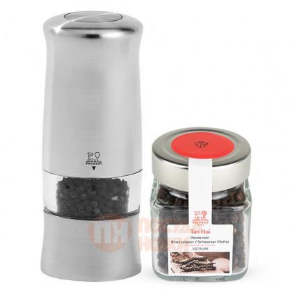 Электрическая пластиковая мельница для перца и баночка перца Tan Hoi 14 см сатиновый Peugeot \ 37376