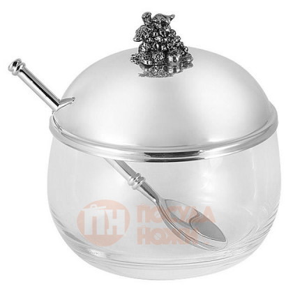 Стеклянная вазочка для джема со стальной крышкой и ложкой Винтаж 10 см Regent \ RE-19975.18