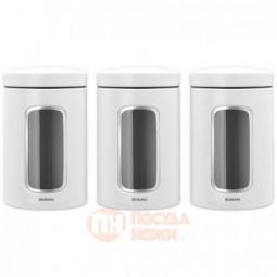 Набор из 3-х стальных емкостей для сыпучих продуктов с окном 1.4 л Brabantia \ 306068