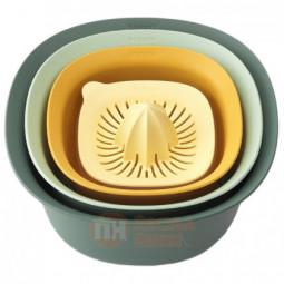 Набор из 2-х пластиковый кухонных мисок дуршлага и соковыжималки для цитрусовых 25 см Brabantia \ 122262
