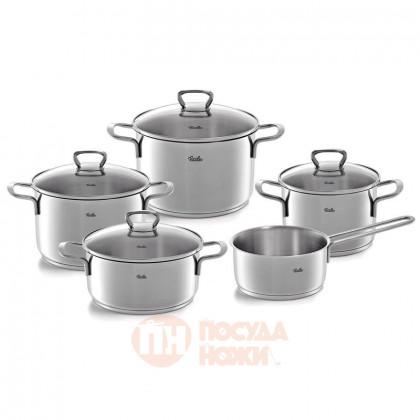 Набор посуды из нержавеющей стали из 4-х кастрюль со стеклянными крышками и ковша Fissler \ 4011205