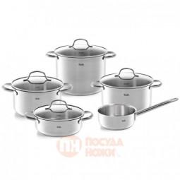 Набор посуды из нержавеющей стали из 4-х кастрюль со стеклянными крышками и ковша Fissler \ 4011305